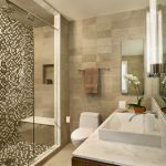Beige Tiles Bathroom Walls Whit Black Mosaic Tiles For Shower Space White Top Bathroom Vanity Withs White Square Sink White Toilet Light Beige Tiles Bathroom Floors