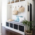 Bench With Shelves Under With Rattan Basket, Shelves On Top With Rattan Baskets