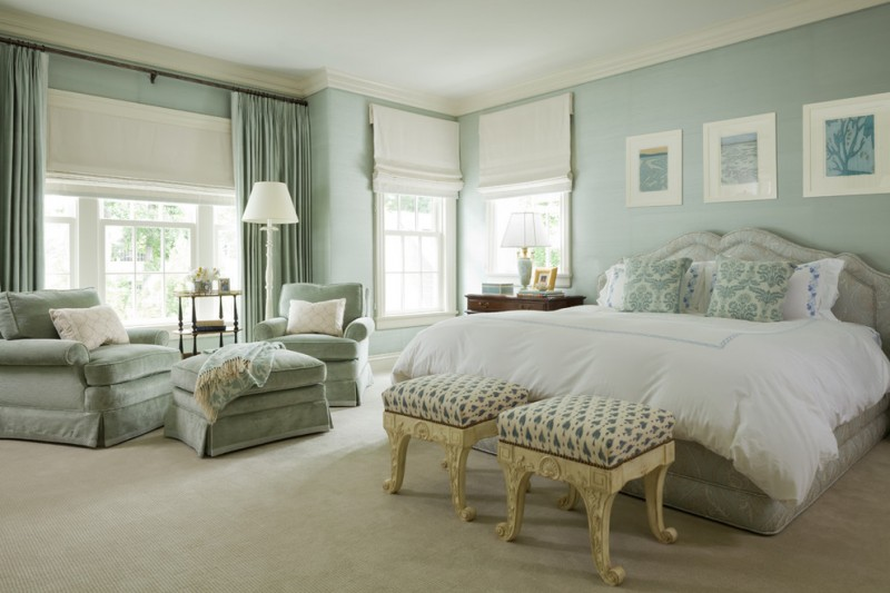 best colour combination for ur bedroom bed paintings light blue wall curtains windows table lamps