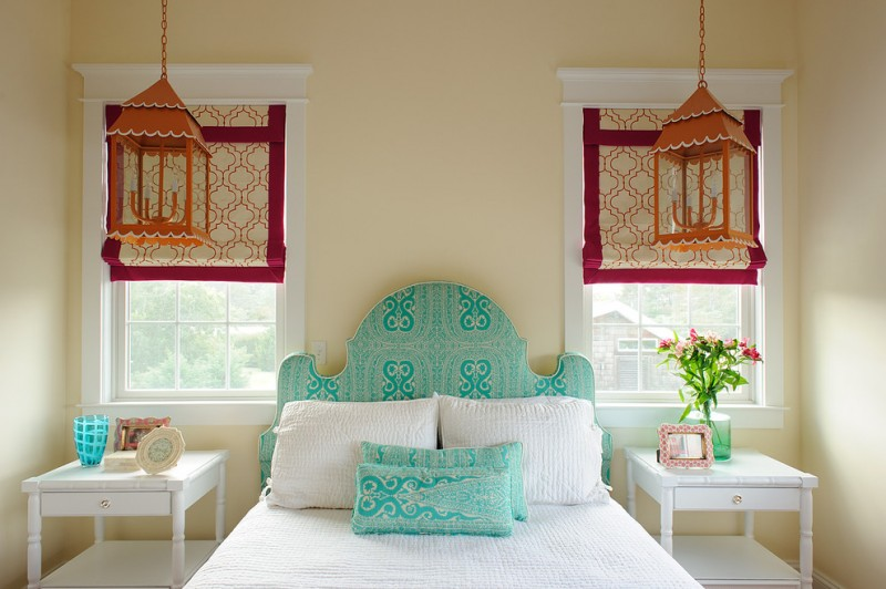 best colour combination for ur bedroom hanging lamps tables pillows bed windows light blue red brown white
