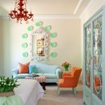 best colour combination for ur bedroom light blue orange sofa pillows chair bed mirror red chandelier