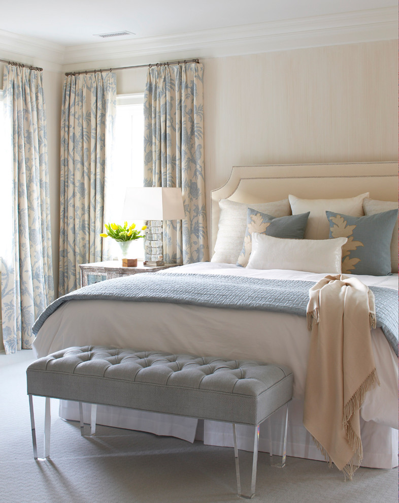 best colour combination for ur bedroom light green light blue light grey bed bench pillows curtains table lamp flowers window
