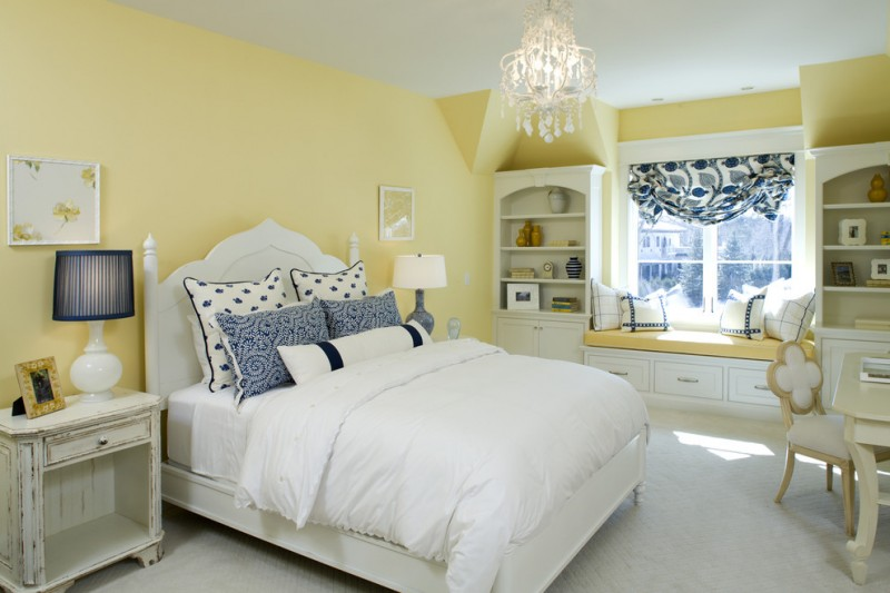 best colour combination for ur bedroom white blued yellow bed chair bench pillows window shelves chandelier curtain