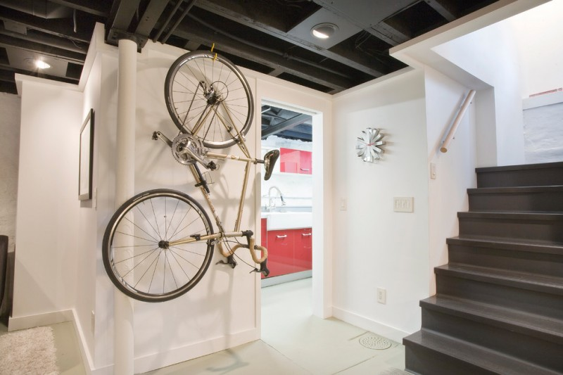 bike rack for apartment stairs wall decor switch metal white wall bicycle red modern design basement