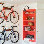 Bike Rack For Apartment Wod Books Bookshelves Red Modern Lamp Ceiling Lamp Wooden Racks Door