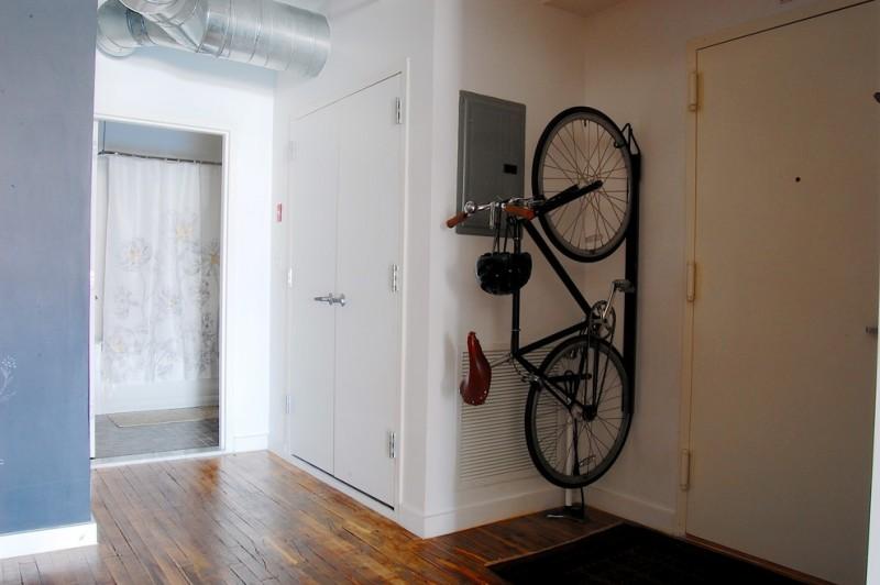 bike rack for apartment wood floor door simple design entryway bicycle helmet metal curtain interior