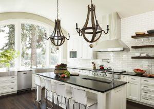 black granite countertop white chabinet arched glass window wooden floating shelves stainless steel hood dark hardwood floor