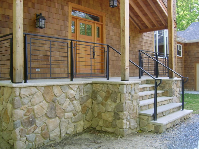 black metal railing in square horizontally lined
