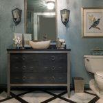 Blue Metallic Dark Wood Vanity With Dark Cabinet, Shagreen Faucet, Onyx Vessel Sink