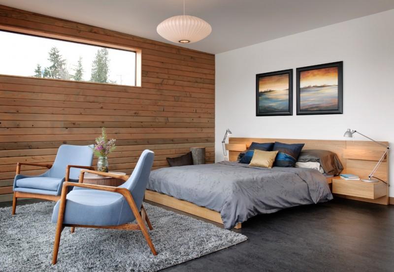 brown horizontal wood paneling in bedroom