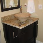 Brown Marble Cone Sink With Brown Marble Vanity And Dark Brown Wooden Cabinet