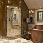 Brown Marble Wall Marble Tiled Floor Vertically Veined Marble Wall Cream Colored Cabinet Brown Free Standing Bathtub