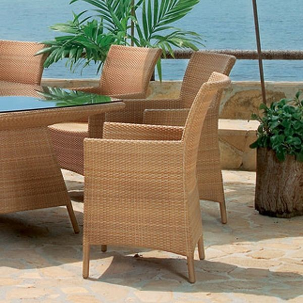 brown wicker weaving chair with armrest