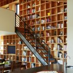 Brown Wooden Shelves Accross The Wall