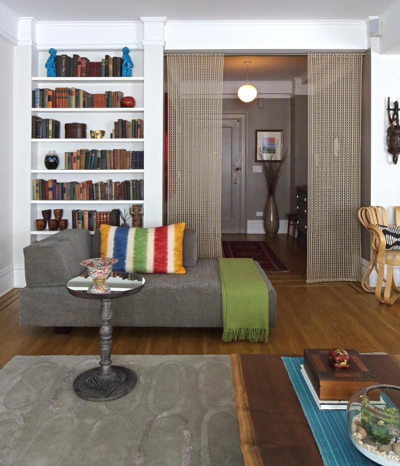 brown woven curtain