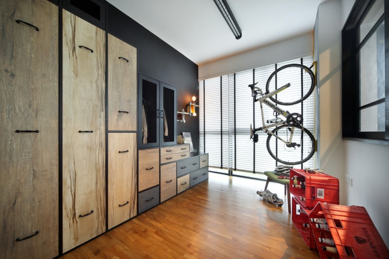 built in closet idea made of hardwood without finishing wall maounted bicycle storage idea decorative wine crates mounted on wall