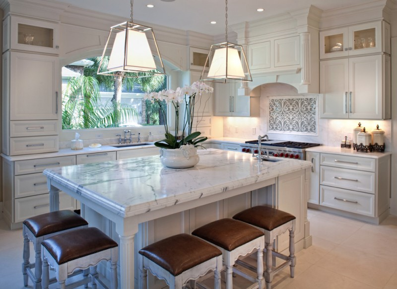 cashmere countertops kitchen backless chairs wall cabinets drawers stove faucet sink hanging lamps