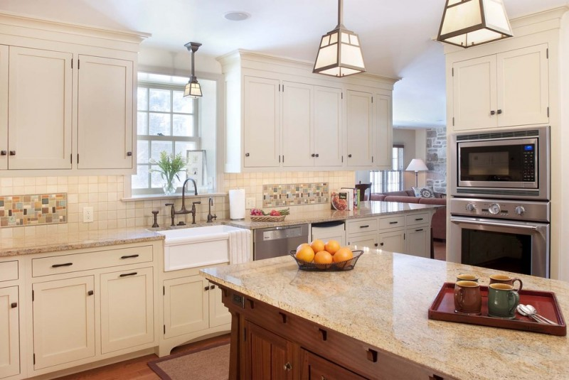 cashmere countertops kitchen hanging lamps stone wall carpet cabinets tile wood floor window sofa