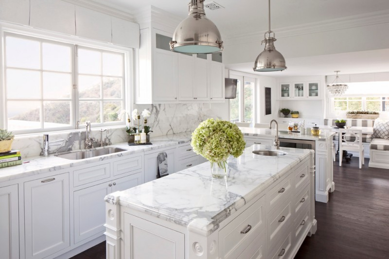 cashmere countertops kitchen wood floor faucet sink window wall cabinets bench dining chairs lamps
