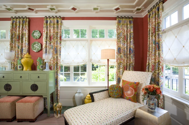 colorful sun room idea with multi color half window curtains white tier curtain additions indoor reclaining chair green console in vintage style eclectic rug with strip motifs and unique side table