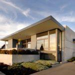 Compact House Design Minimalist Door Window Modern Design Exterior Flowers Outdoor Area