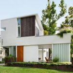 compact house designs chairs exterior contemporary style window glass wood white three story building