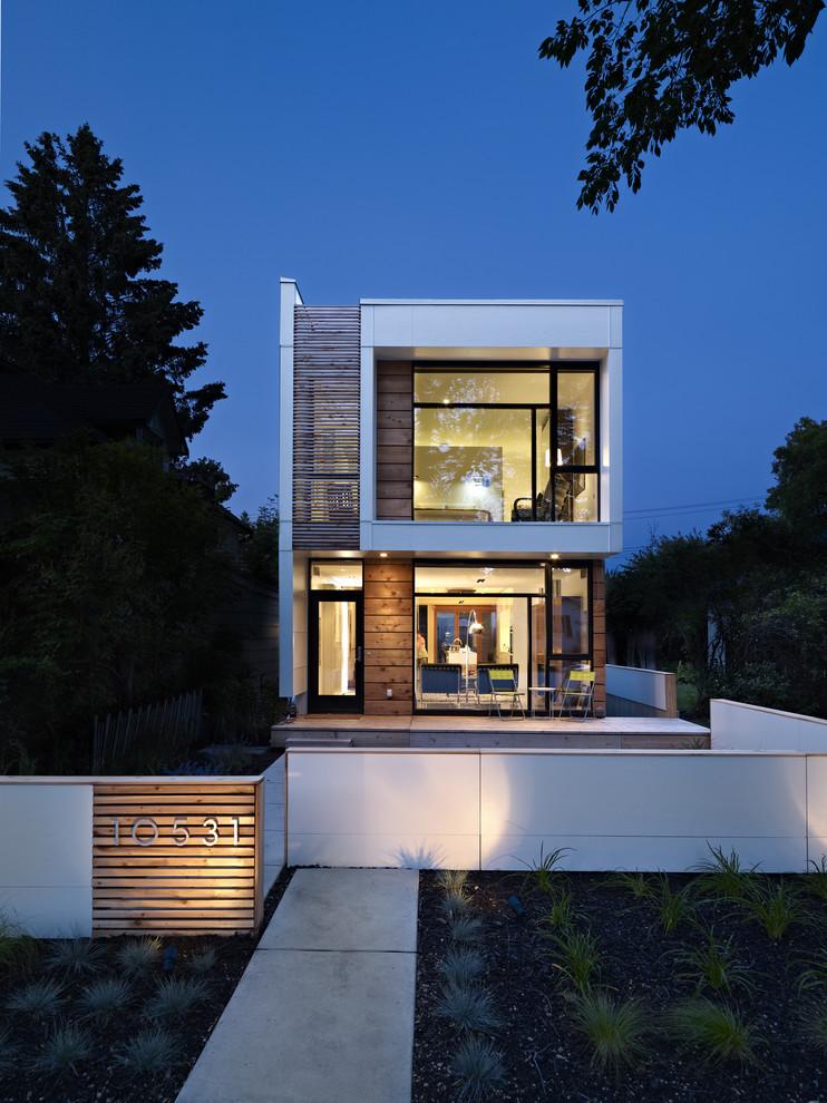 compact house designs chairs glass door second floor lamps modern exterior home design modern look