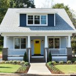 Compact House Designs Pathway Windows Railing Bricks Gable Roof Door Wall Lamps Stairs White Exterior