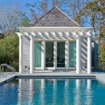 compact house designs pool pillars railing traditional pool door curtains roof light color exterior wall