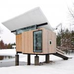 Compact House Designs Wood Exterior Glass Window Roof Pillars Simple Design Contemporary Look