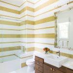 Contemporary Bathroom Idea White Yellow Tiles Walls White Toilet White Top Bathroom Vanity Darker Wooden Cabinets