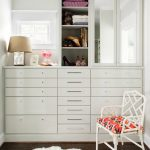 Contemporary Closet Organizer Idea In White And In Small Size Dark Wood Floors White Fury Mat White Chair With Multicolor Seater