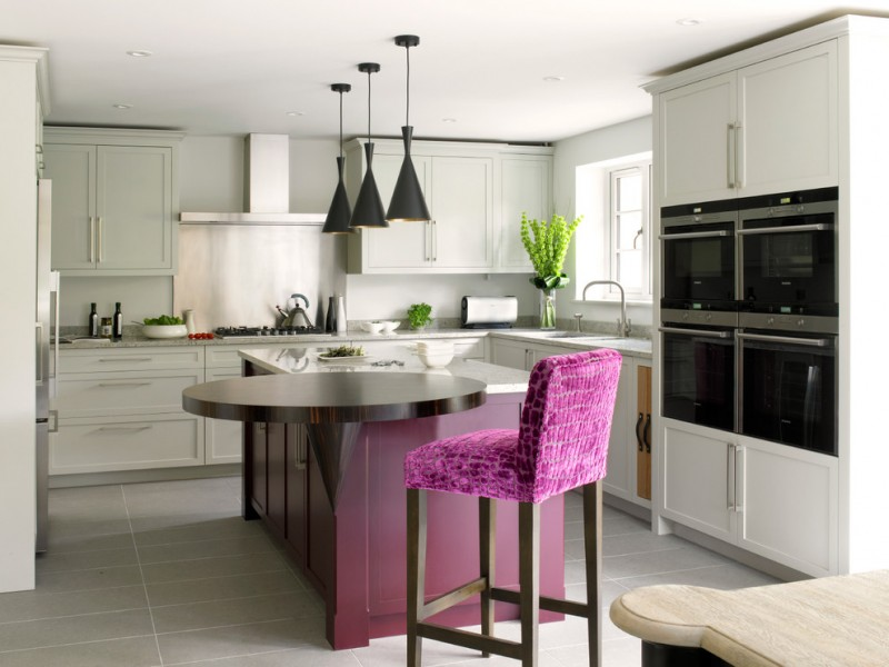 contemporary kitchen idea with higher purple stool white cabinetry white countertop dark purple kitchen island with dark wood top modern black pendant lamps
