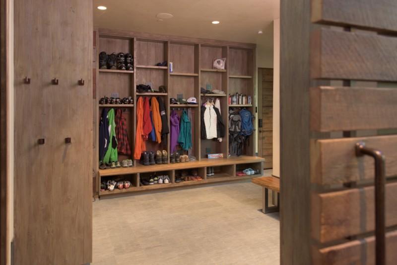 cool shabby walk in closet organizer in dark rustic for men