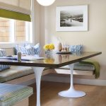 Corner Banquette Seating With Wooden Bench With Blue Green Cushion, Dark Wood Table With White Legs