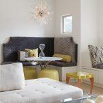 Corner Kitchen Table Set With Dark Grey Seating Cushion, Black Leather Back Cushion, Grey Leather Back Cushion, Yellow Ottoman, Yellow Pillows, Crystal Pendant Light