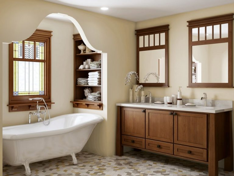 Craftsman Bathroom With Brown Color Palette Wooden Cabinet White Top