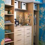Custom And Built In Closet Organizer Idea In Beautiful Painted Wallpaper Dressing Room