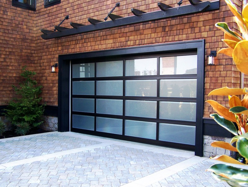 dark garage border alumunium garage border glass door dark overhead garage brick wall