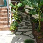 Design Footpath Made By Stone Banana Tree Stairs Wall Stones Soil Trees House Exterior Village Atmosphere