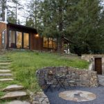 Design Footpath Made By Stone Chairs Table Wooden Door Trees Pathway Sloping Hillside Lamp Glass