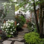 design footpath made by stone narrow area tree flowers wall white plants stone pathway exterior