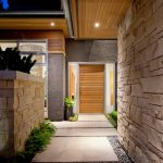 Design Footpath Made By Stone Pathway Stone Wall Plants Ceiling Light Wooden Door Wooden Ceiling
