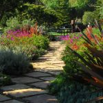 Design Footpath Made By Stone Plants Beautiful Design Trees Chairs Table Outdoor Area Stone Pathway