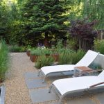 Design Footpath Made By Stone Trees Flowers Small Table Seating Water Modern Pebbles Pathway