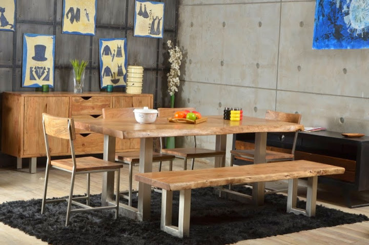 dining room sets with light wooden table with u legs, a bench with u legs, four wooden chairs