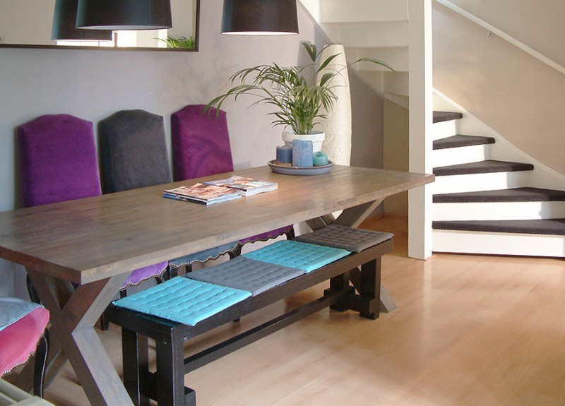 dining room sets with purple and grey chairs, a bench with colorful thin cushion, table with x legs