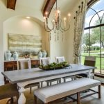 Dining Room Sets With White Leathered Chairs, White Leathered Bench, White Tainted Wooden Table