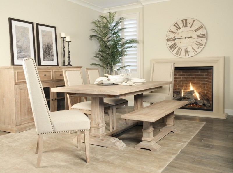 dining set with white leathered chairs, light wooden bench, light wooden table
