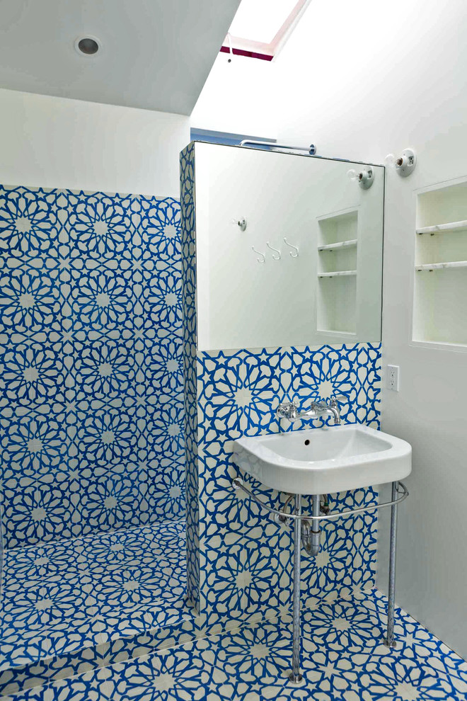 eclectic and multicolored walls and floors for bathroom free standing vessel sink in white with stainless steel faucet frameless square mirror recessed shelves